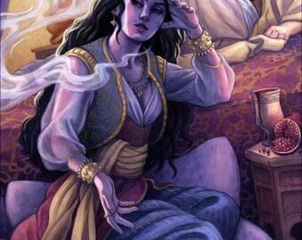 1001 Arabian Nights, Sheherazade Illustration 12x16