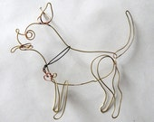 Pepe the Chihuahua wire sculpture in brass