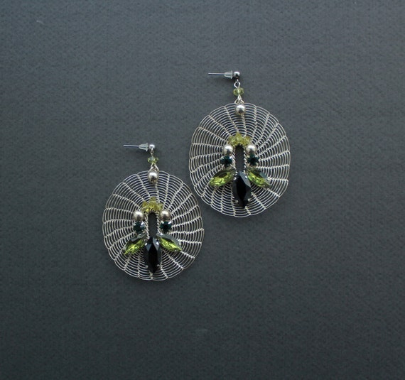 GABRIELLA Statement Chic Silver Crocheted Large Earrings with Crystals