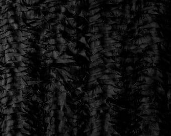 Black Wavy Organza 58 Inch Wide