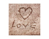Heart Love Photo, Street Art, Concrete, Sidewalk, I Love You, Valentine's Day, Anniversary Gift, Young Love