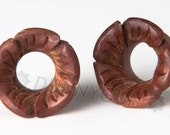 """5/8"""" Pair Carved Hibiscus Flower Red Saba Wood Gauged Plugs Organic Hand Carved Body Piercing Jewelry"""