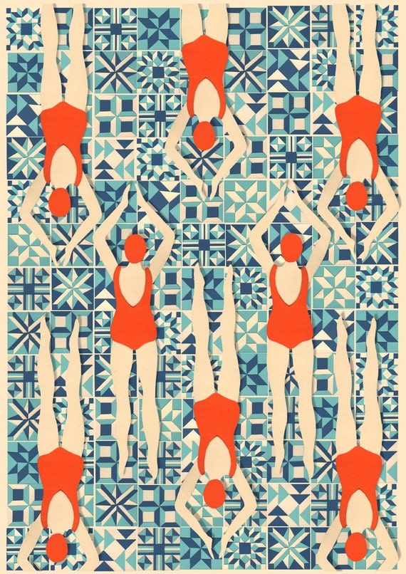 art deco print swimmers print papercut by