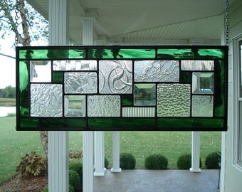 Stained Glass Panel, Green, Textured Clears, Bevels, Window Transom