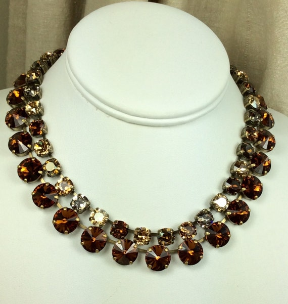"""Swarovski Crystal 12MM Chocolate Brown Necklace and 8.5mm """" Bronzey Brown """" Necklace - Designer Inspired - Stunning & Classy - FREE SHIPPING"""