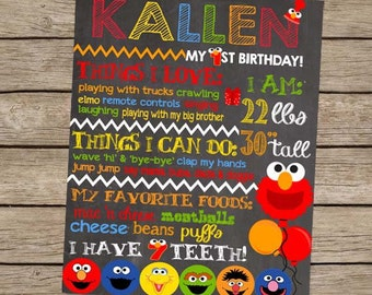 First Birthday Chalkboard Poster Elmo Sesame Street Birthday Sign digital PRINTABLE Elmo Party Sesame Street Party First Birthday Boy Party