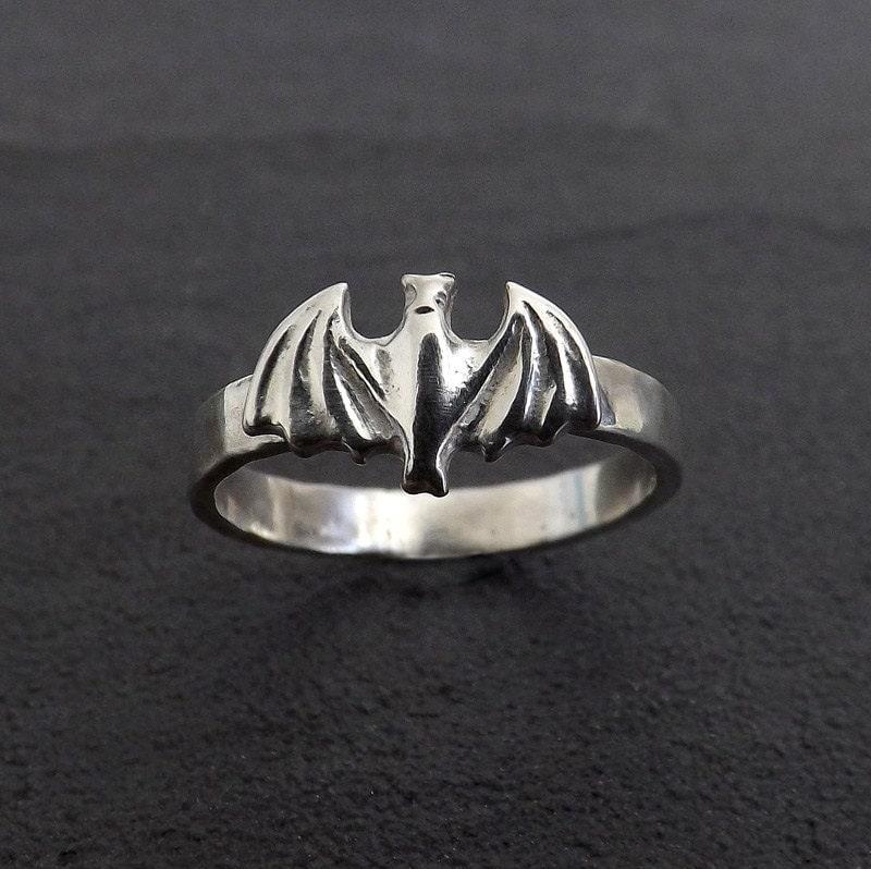 Sterling Silver Bat Ring Batman Batwoman Goth Custom Made