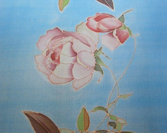 Sky blue silk chiffon scarf hand painted Pink roses floral Women gift - made TO ORDER