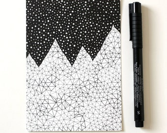 Mountain print / Day and Night / A6 print / Mini art print / Illustration / Contemporary art / Postcard / Black and white