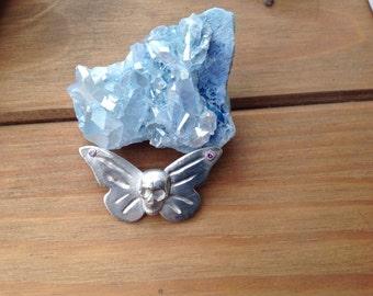 Fine silver butterfly skull