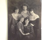 Antique Family Portrait Black in White Victorian Photo