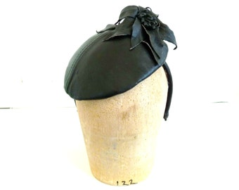 Upcycled Black Leather Fascinator With Flower- Handmade Fascinator for Women