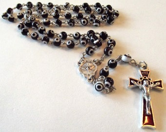 Confirmation Holy Spirit Black and White Glass Bead Rosary