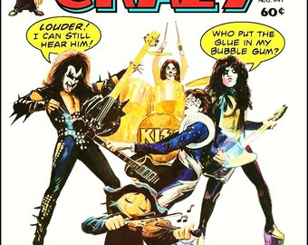 """KISS """"CRAZY"""" Magazine Cover Reproduction Stand-Up Display - Collectibles Collection Memorabilia Rock Band Music Gift Retro Look Frame"""