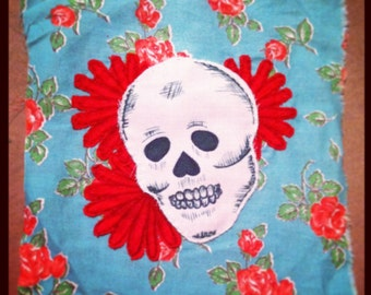 Skull and Flower Patch with Floral Fabric