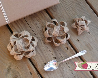 SALE - Set of Three - Reusable Shabby Fabric Gift Bows - Burlap