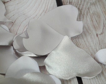 Heart shaped SILVER satin rose petals, alternative to silk, wedding, anniversary, or date night, ready to ship