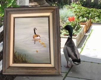 The Swimming Lesson, Original oil painting by Linda Maravich, 11 x 14 framed, mother and child rustic farmhouse art, mother goose goslings