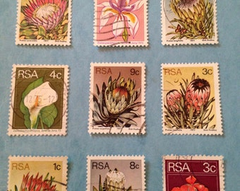 Vintage 1970s South Africa Botanical Used and Cancelled Postage Stamps// Protea Flower Varieties and Calla Iris Geranium//Great for ATC art