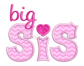 Big Sis Applique Machine Embroidery Design sister sibling INSTANT DOWNLOAD