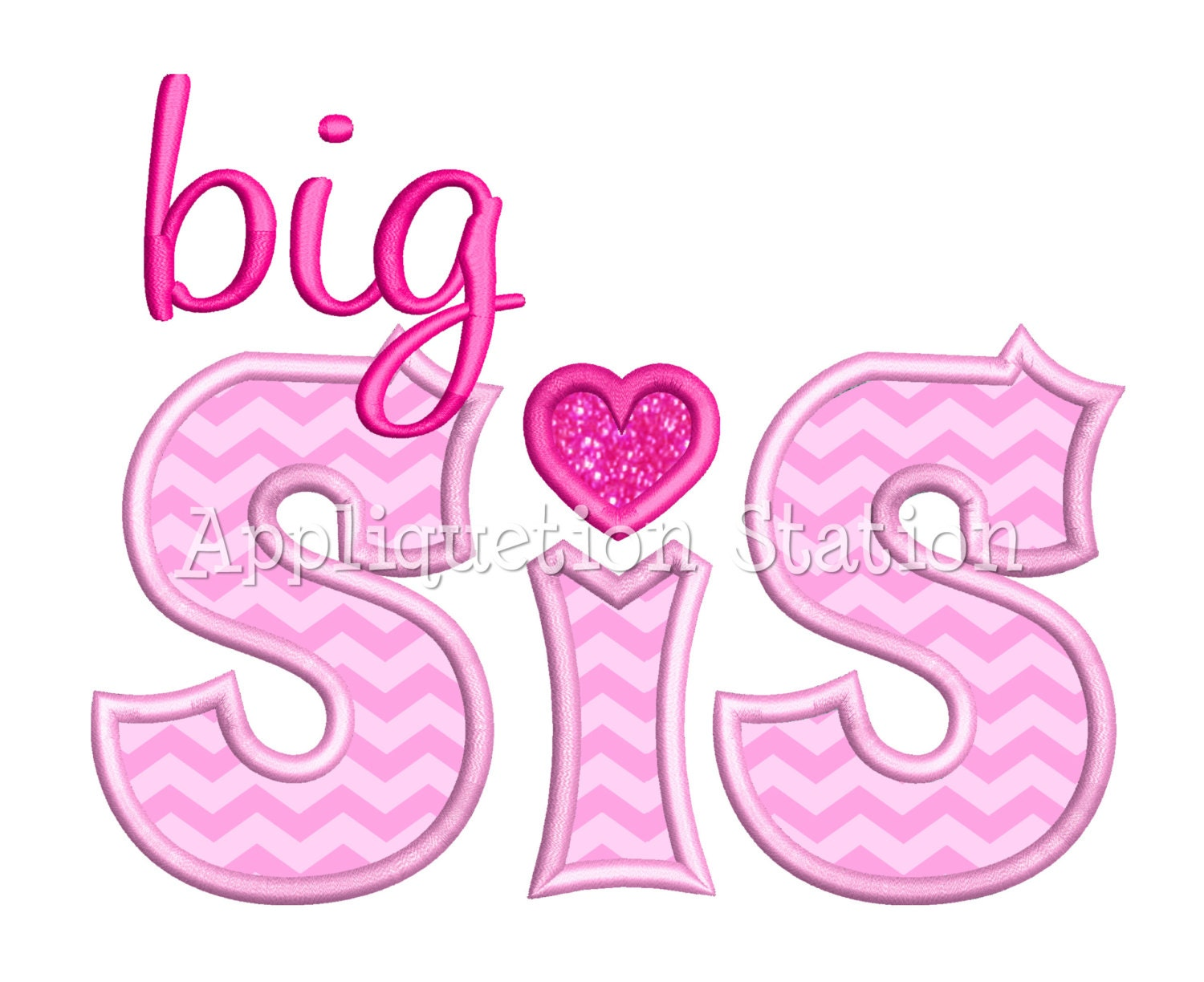 Big sis applique machine embroidery design sister sibling