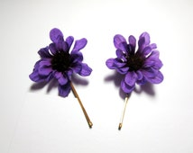 Orange Flower Hair Pin  violet Flower Hair Clip / Bobby Pin - Wedding Accessory-Bohemian Hair Piece