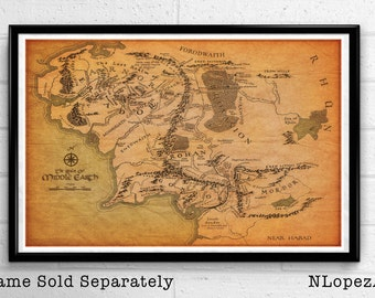Map of Middle Earth from The Lord of the Rings and The Hobbit Poster Print Canvas