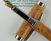Wooden Fountain Pen this Custom Fountain Pen made from Beautiful Cherry Burl Wood Rhodium with Gold Titanium accents Hardware 538FPB