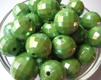 Disco Beads, 10 Chunky Necklace Beads, 20mm Faceted Green AB Color Beads, Gumball Beads, AB Color, Acrylic Bead