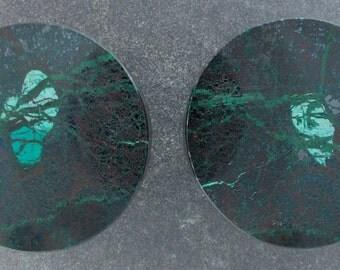 "Malachite Chrysocolla 1"", 25mm  one pair ear plugs"