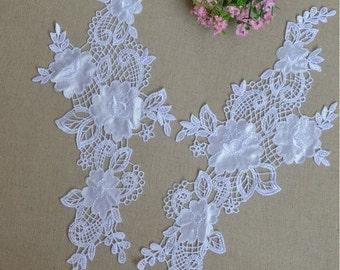 2 pcs White Lace Applique/ Elegant Detachable collar / white  lace collar / collar necklace / lace applique 0216