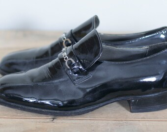 vintage men's black patent leather wedding crasher shoes size 10.5D imperial hanover