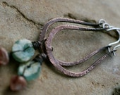 My Strength is in Solitude Hoops - Lampwork, Ancient Roman Glass, Large Hoops, Metalwork, Oxidized Metal, Tribal, Bohemian,Raw,Texturized
