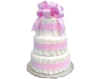 3 Layer Pink - Classic Pastel Baby Shower Diaper Cake