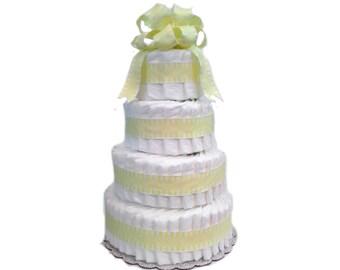 4 Layer Yellow - Classic Pastel Baby Shower Diaper Cake
