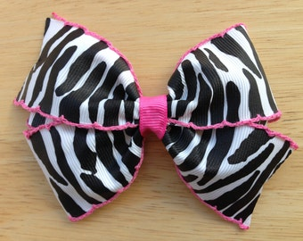 Zebra print hair bow - 4 inch zebra bow with pink moonstitch, zebra pink bow, 4 inch bows, pinwheel bow, girls hair bows, toddler bows