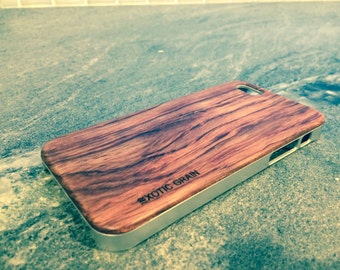 IPHONE 5/5s CASE hand  polished exotic ROSEWOOD  back ,real wood ,sharp  metal looking  silver edge edge