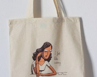 Ecru Cotton Handprinted Tote Bag. Illustration. I feel like raining.