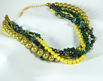 Sophisticated green choker necklace Semi precious stone and pearl choker Chunky multi layer torsade multistrand necklace Office  jewelry