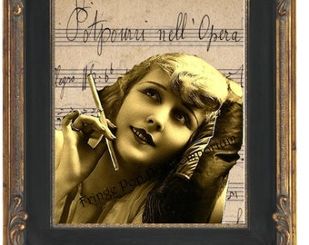 Flapper Music Sheet Art Print 8 x 10 - Art Deco - Smoking French Flapper - 1920s - Jazz Age