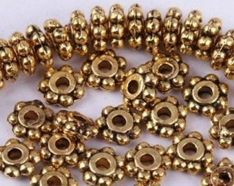 Bright GOLD-Plated 5mm Daisy Spacer (50) Beads