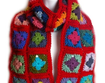 Crochet granny square scarf scarlet red crochet wrap granny square wrap kaleidoscope scarf scarlet red scarf  READY TO SHIP