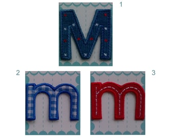 Iron on Letters Applique Fabric Patch - Letter M 5.50 cm 2.16 inches m 4 cm 1.57 inches