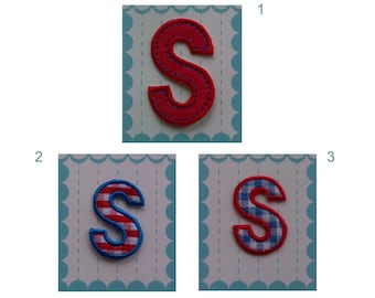 Iron on Letters Applique Fabric Patch - Letter S 5.50 cm 2.16 inches s, 4 cm 1.57 inches