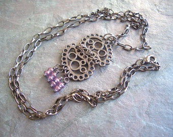 "Gunmetal Necklace / One-of-a-Kind / Scroll / Paisley / Pendant / Wire Wrapped / Lilac / Seed Beads / Chain / Pendant - 27"" long - N55"