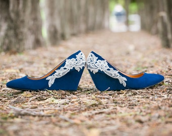 Wedding Shoes - Blue Wedges, Blue Wedding Heels, Low Blue Wedge, Something Blue, Bridal Shoes, Bridal Heel, Wedge with Ivory Lace. US Size 9