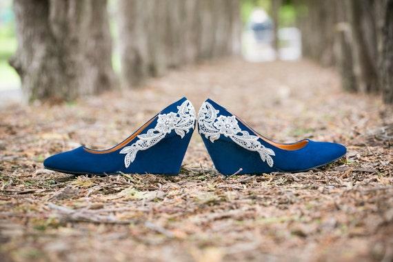 Wedding Shoes Blue Wedges Blue Wedding Heels Low Blue
