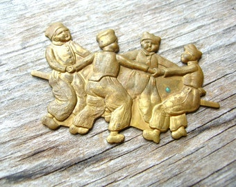 Rare Brass Stamping - Antique Stamping - Ring Around the Rosey - Dutch Children - Brass Finding - Brass Stamping