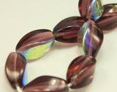 Bead, Czech pressed glass, amethyst AB, 12.5x8.5mm oval twist. Qty 10, Czech Glass Bead