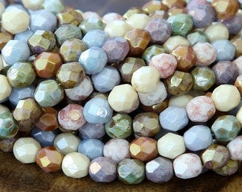 Opaque Luster Mix Czech Glass Beads, 6mm Faceted Round - 50 pcs - eP10-6